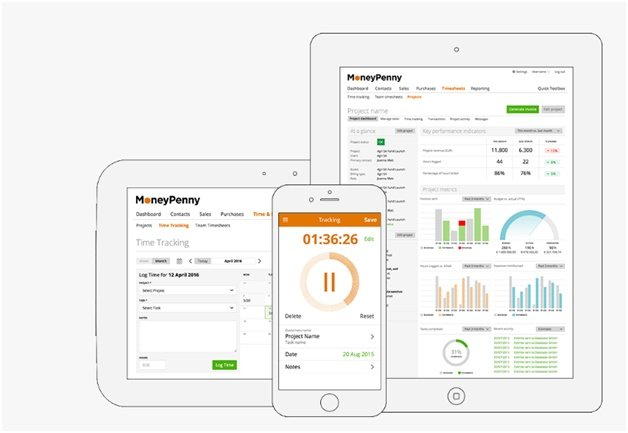 MoneyPenny Cloud Based Time Tracking And Invoice App - Online invoice tracking